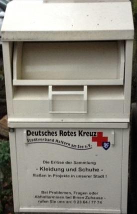 Foto: Altkleidercontainer des DRK-Stadtverbandes Haltern am See e.V.